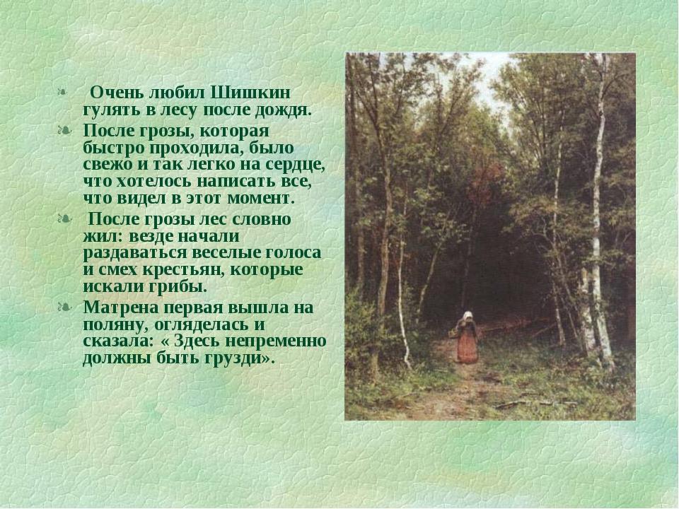 Очень любил Шишкин гулять в лесу после дождя. После грозы, которая быстро пр...
