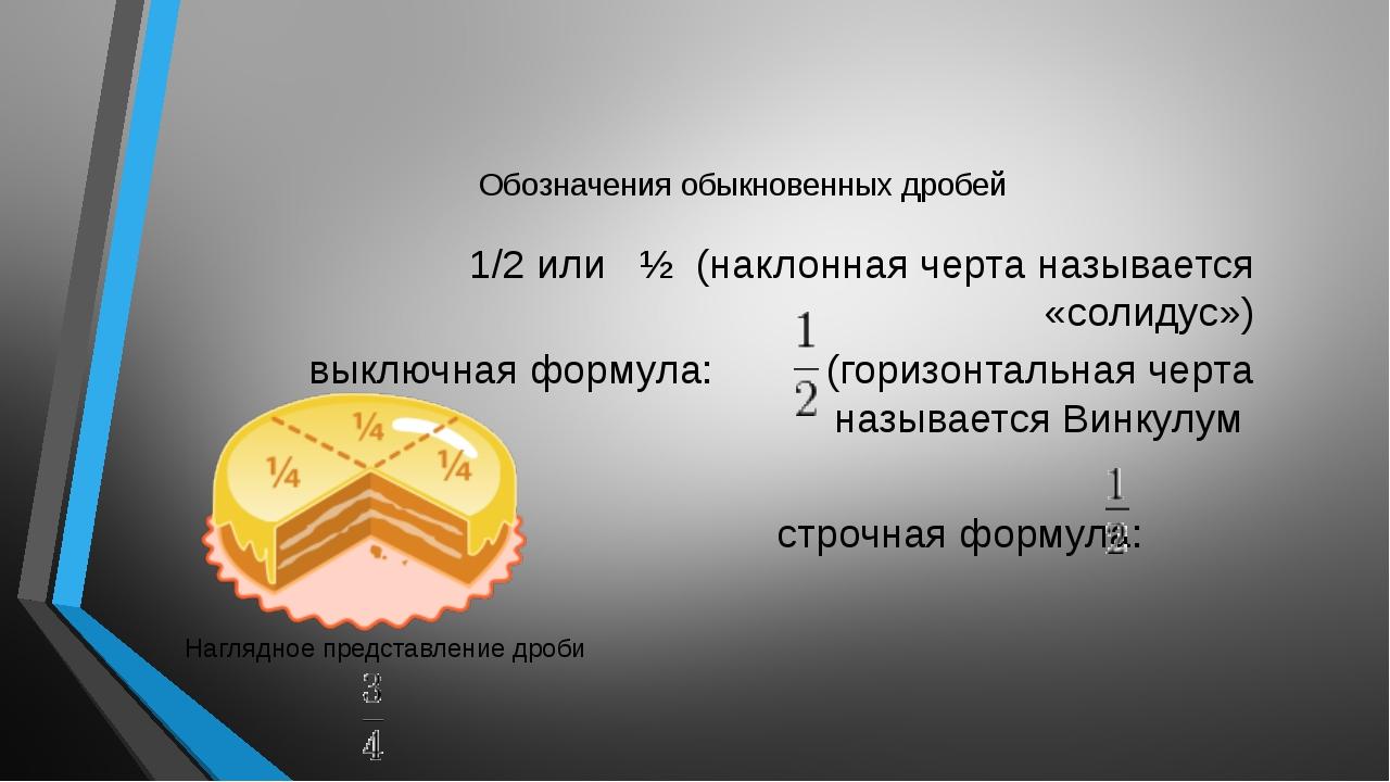 Обозначения обыкновенных дробей 1/2 или ½ (наклонная черта называется «солиду...