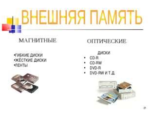 МАГНИТНЫЕ ГИБКИЕ ДИСКИ ЖЁСТКИЕ ДИСКИ ЛЕНТЫ ДИСКИ CD-R CD-RW DVD-R DVD-RW И Т.