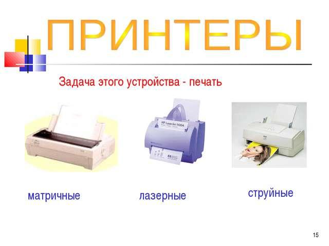 Задача этого устройства - печать матричные лазерные струйные *
