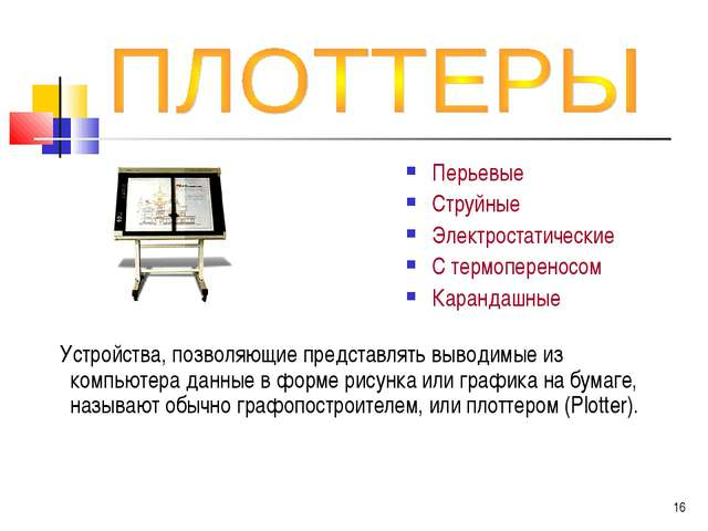 Устройства, позволяющие представлять выводимые из компьютера данные в форме...