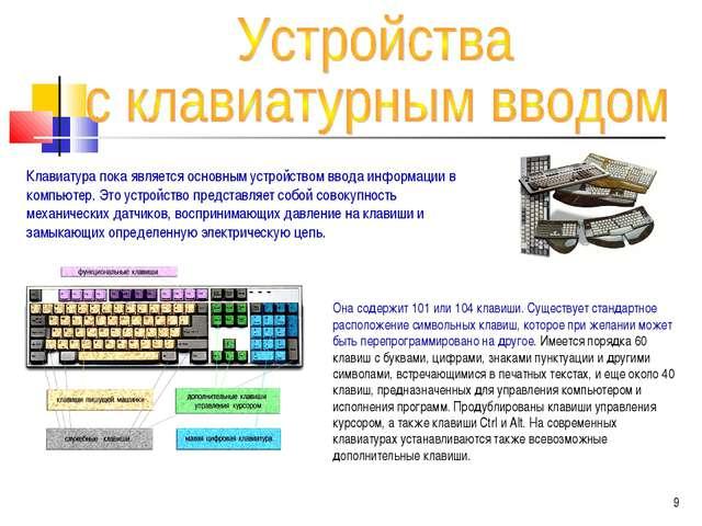 Клавиатура пока является основным устройством ввода информации в компьютер. Э...