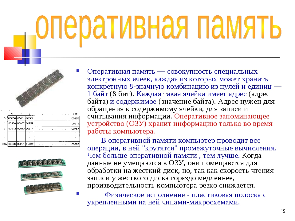 Оперативная память — совокупность специальных электронных ячеек, каждая из ко...