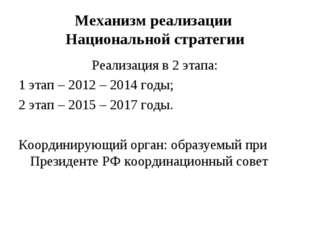 Механизм реализации Национальной стратегии Реализация в 2 этапа: 1 этап – 201