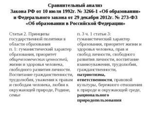 Сравнительный анализ Закона РФ от 10 июля 1992г. № 3266-1 «Об образовании» и