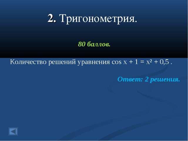 2. Тригонометрия. 80 баллов. Количество решений уравнения cos x + 1 = x² + 0,...