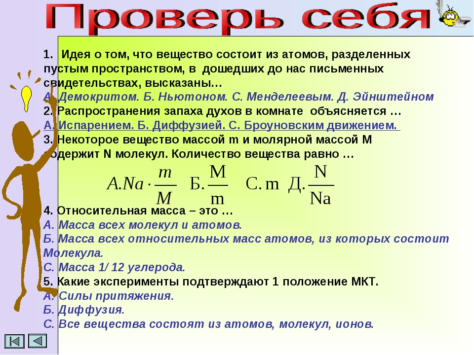 Идея о том, что вещество состоит из атомов, разделенных пустым пространством...