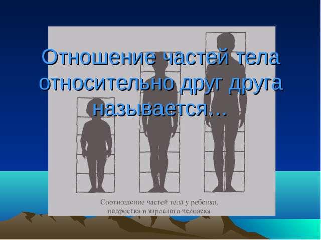 Отношение частей тела относительно друг друга называется…