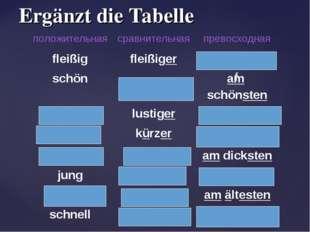 Ergänzt die Tabelle f положительнаясравнительнаяпревосходная fleißigfleißi