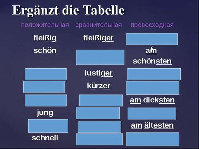 Ergänzt die Tabelle f положительнаясравнительнаяпревосходная fleißigfleißi...