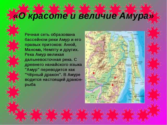 «О красоте и величие Амура» Речная сеть образована бассейном реки Амур и его...