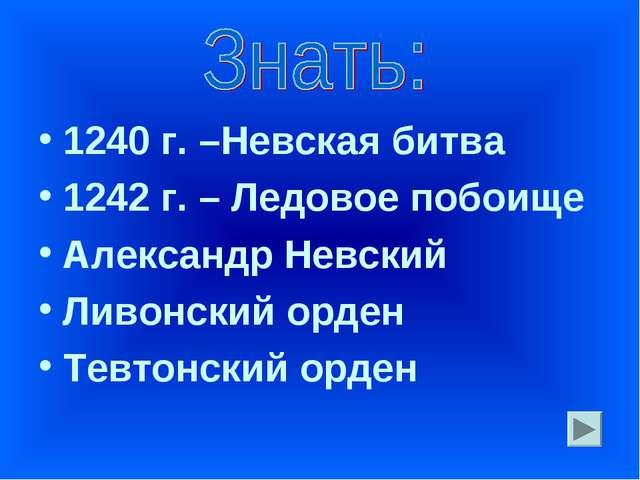 1240 г. –Невская битва 1242 г. – Ледовое побоище Александр Невский Ливонский...