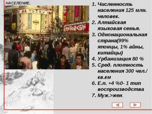 Численность населения 125 млн. человек. Алтайская языковая семья. Однонациона