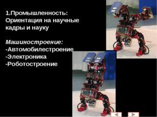1.Промышленность: Ориентация на научные кадры и науку Машиностроение: -Автомо