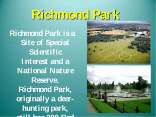 Richmond Park Richmond Park is a Site of Special Scientific Interest and a Na