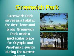 Greenwich Park Greenwich Park serves as a habitat for deer, foxes and birds.