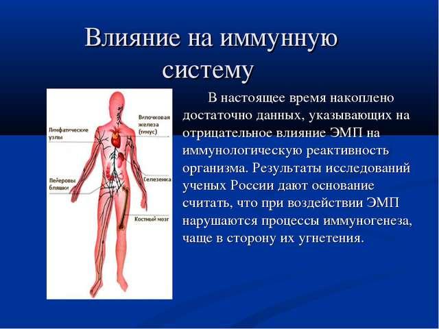 Влияние на иммунную систему В настоящее время накоплено достаточно данных, ук...