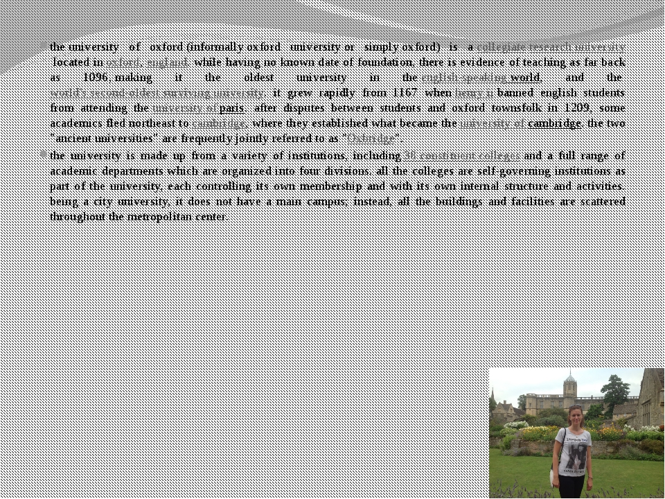 theuniversity of oxford(informallyoxford universityor simplyoxford) is a...