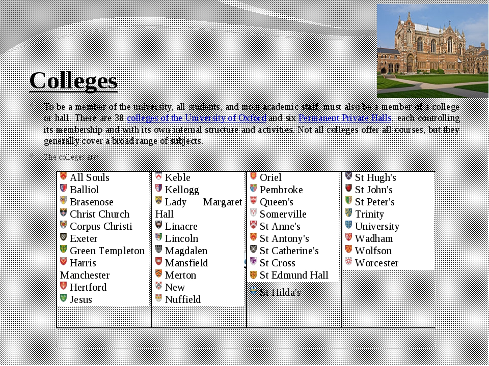 Colleges To be a member of the university, all students, and most academic st...