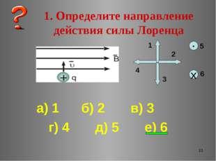 * 1. Определите направление действия силы Лоренца а) 1 б) 2 в) 3 г) 4 д) 5 е)