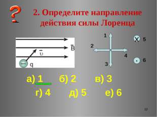 * 2. Определите направление действия силы Лоренца ▪ х 1 2 3 4 5 6 а) 1 б) 2 в