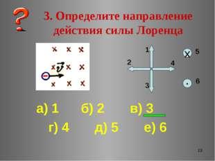 * 3. Определите направление действия силы Лоренца а) 1 б) 2 в) 3 г) 4 д) 5 е)