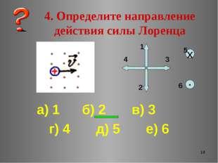 * 4. Определите направление действия силы Лоренца а) 1 б) 2 в) 3 г) 4 д) 5 е)