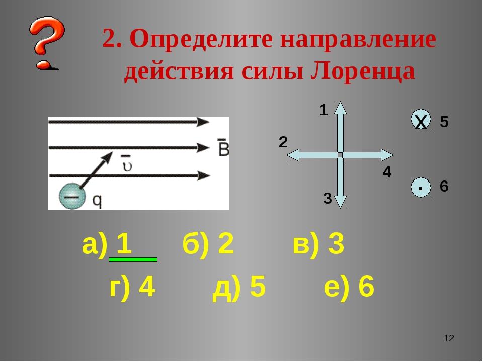 * 2. Определите направление действия силы Лоренца ▪ х 1 2 3 4 5 6 а) 1 б) 2 в...