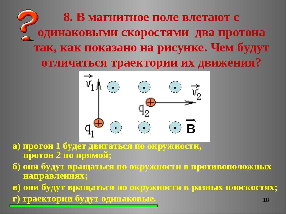 * 8. В магнитное поле влетают с одинаковыми скоростями два протона так, как п...