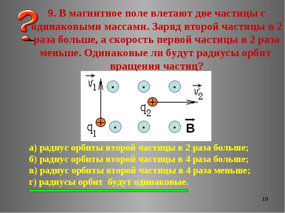 * 9. В магнитное поле влетают две частицы с одинаковыми массами. Заряд второй...