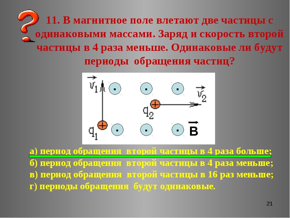 * 11. В магнитное поле влетают две частицы с одинаковыми массами. Заряд и ско...
