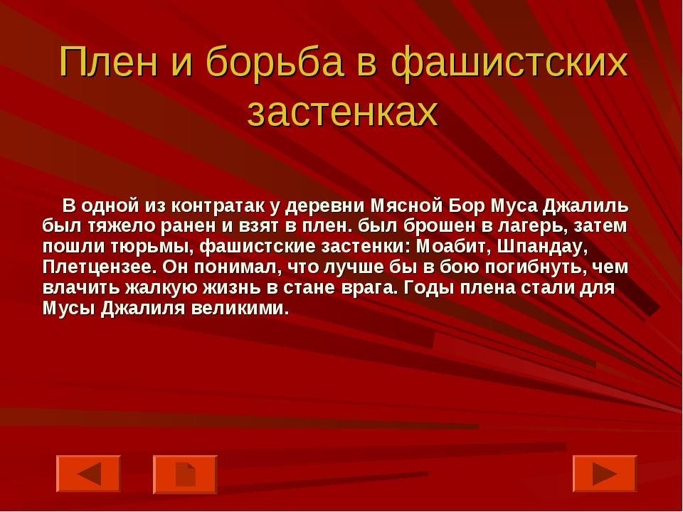 Плен и борьба в фашистских застенках В одной из контратак у деревни Мясной Бо...
