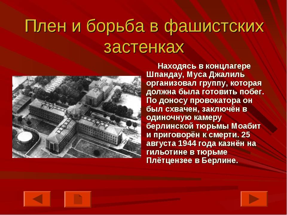 Плен и борьба в фашистских застенках Находясь в концлагере Шпандау, Муса Джал...
