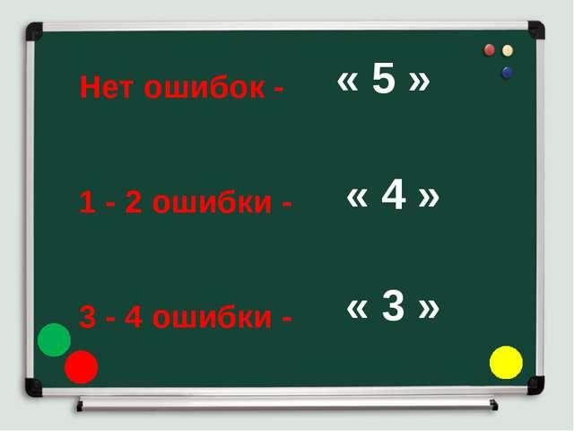 Нет ошибок - 1 - 2 ошибки - 3 - 4 ошибки - « 5 » « 4 » « 3 »
