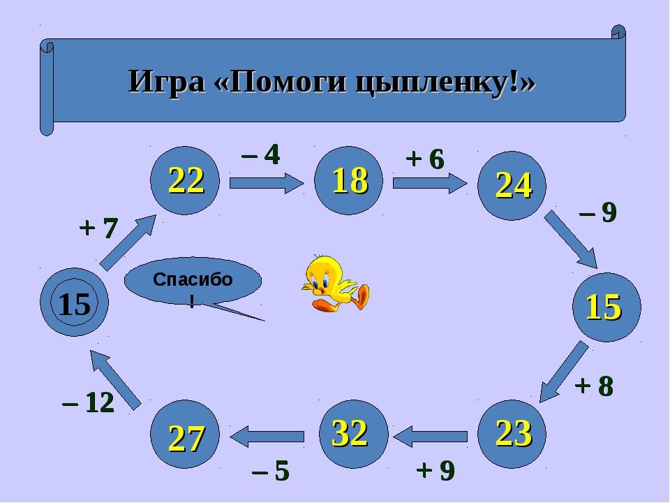 Игра «Помоги цыпленку!» 15 + 7 – 12 – 5 + 9 + 8 – 9 + 6 – 4 22 27 32 23 15 24...