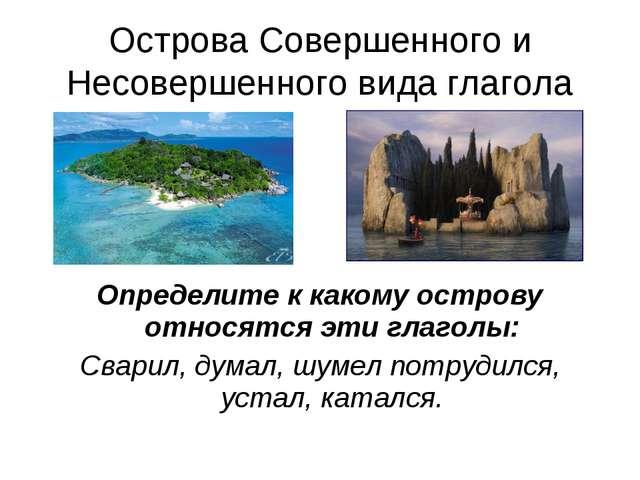 Острова Совершенного и Несовершенного вида глагола Определите к какому остров...