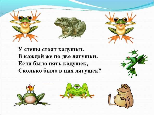 У стены стоят кадушки. В каждой же по две лягушки. Если было пять кадушек, Ск...