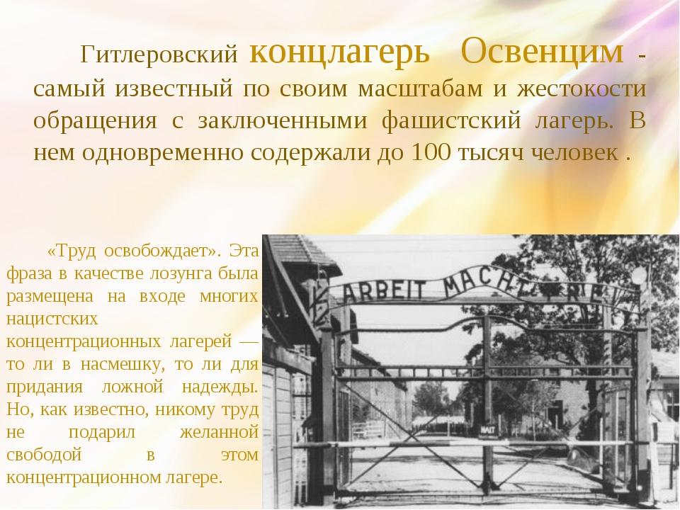 Гитлеровский концлагерь Освенцим - самый известный по своим масштабам и жест...
