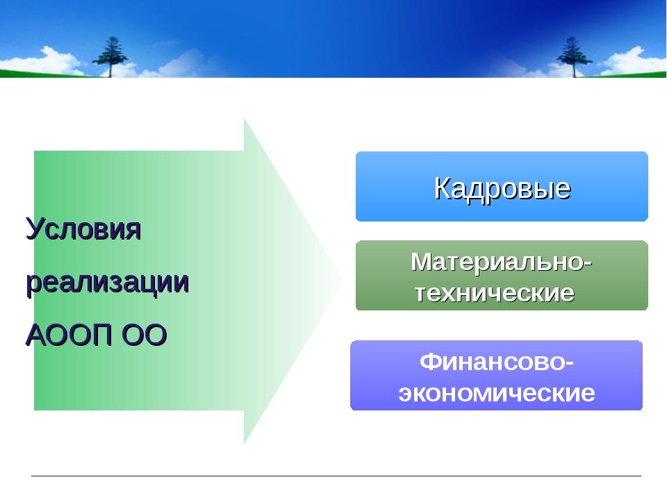 Кадровые Материально- технические Финансово- экономические Условия реализации...