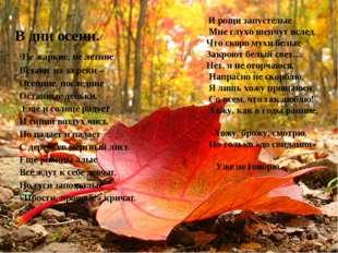 В дни осени. Не жаркие, не летние Встают из-за реки – Осенние, последние