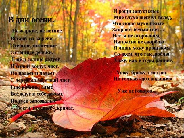 В дни осени. Не жаркие, не летние Встают из-за реки – Осенние, последние...