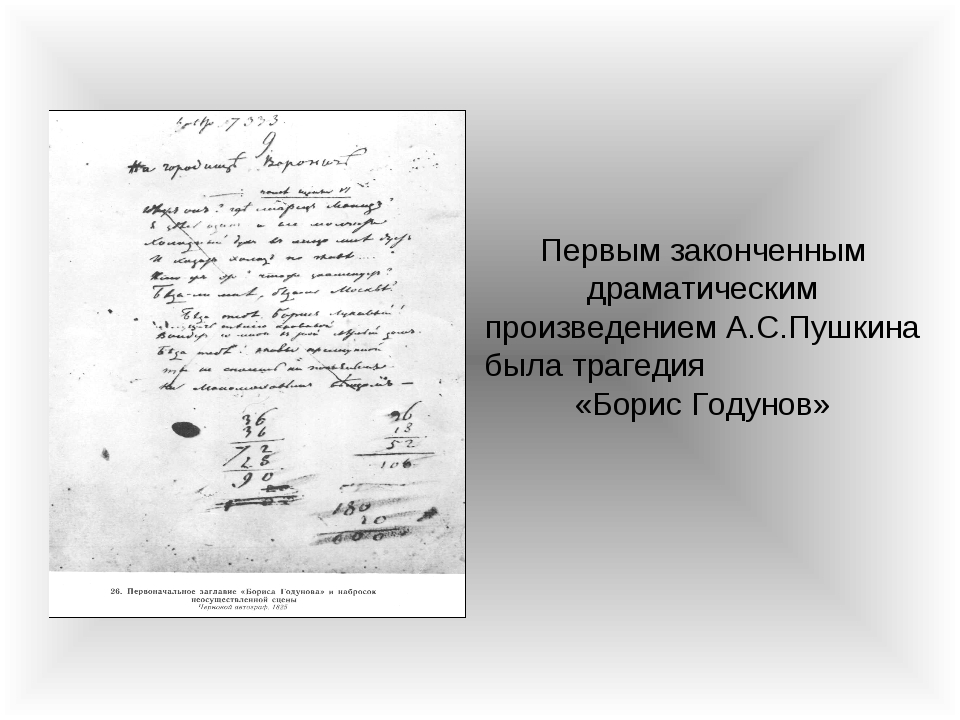 Первым законченным драматическим произведением А.С.Пушкина была трагедия «Бор...