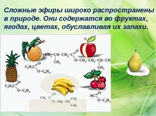 Сложные эфиры широко распространены в природе. Они содержатся во фруктах, яго