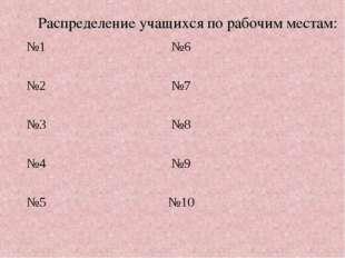 Распределение учащихся по рабочим местам: №1№6  №2№7  №3№8  №4№9