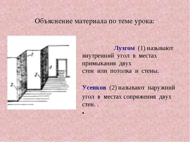 Объяснение материала по теме урока: Лузгом (1) называют внутренний угол в мес...