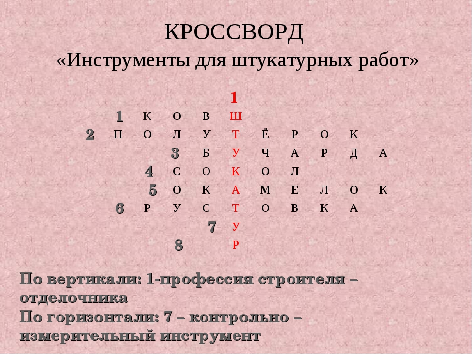 КРОССВОРД «Инструменты для штукатурных работ» 1 По вертикали: 1-профессия стр...