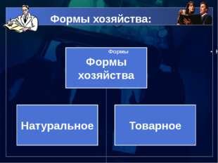 Формы хозяйства:
