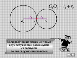 Если расстояние между центрами двух окружностей равно сумме их радиусов, то э