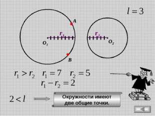 О1 О2 r1 r2 В А Окружности имеют две общие точки.