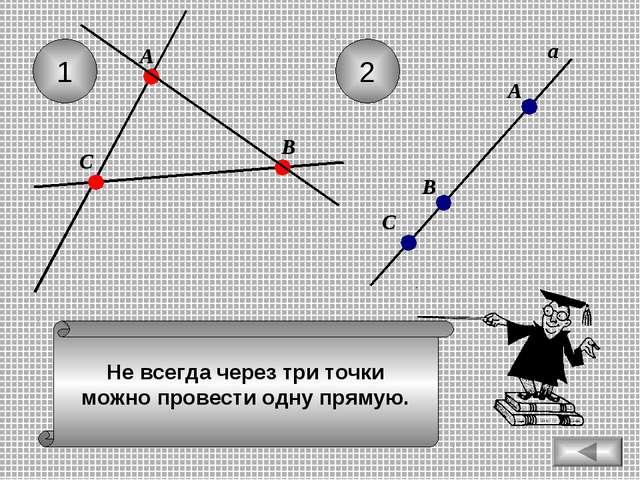 Не всегда через три точки можно провести одну прямую. 1 2 С А В а А В С